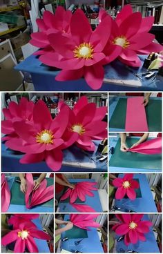 Here's the link to the tutorial >> DIY Large Paper Lotus Flower << by CreativityWindow™ Giant Paper Flowers, Big Flowers, Lotus Flowers, Making Tissue Paper Flowers, Diy Paper, Paper Crafts, Paper Lotus, Vietnam, Asian Inspired Decor