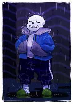"""leeffi: """" It was raining pretty hard yesterday, so while listening to it pour outside, i drew my favourite, tiny skellyman standing in the rain~ (ღ˘⌣˘ღ) """""""
