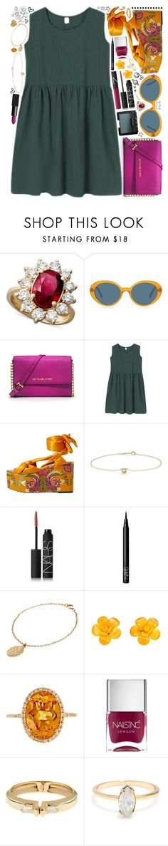 """""""{this love came back to me}"""" by kk-purpleprincess ❤ liked on Polyvore featuring R.H. Macy's & Co., Oliver Peoples, MICHAEL Michael Kors, MANGO, Jennifer Meyer Jewelry, NARS Cosmetics, CINDERELA B, Chanel, Effy Jewelry and Nails Inc."""