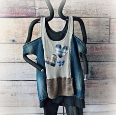 Frayed Denim Shirt Cold Shoulder Top Upcycled Clothes Recycled | Etsy Recycle Jeans, Denim Fabric, Gypsy Style, Denim Shirt, Cold Shoulder, Street Wear, Boho, Clothing, How To Wear