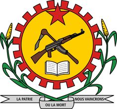 "The coat of arms of Burkina Faso under Sankara from 1984-87, featuring a crossed mattock and AK-47 (an allusion to the Hammer and Sickle) with the motto ""La Patrie ou la Mort, nous vaincrons"" (English: ""Fatherland or death, we will win"")."