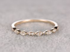 Natural Diamonds,Half Eternity Wedding Ring,Solid 14K Yellow gold,Anniversary Ring,Art deco Marquise style,stacking ring,Matching band by popRing on Etsy
