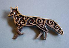 Master Ark's Celtic Fox Brooch or Pendant in Bronze.  www.MasterArk.com