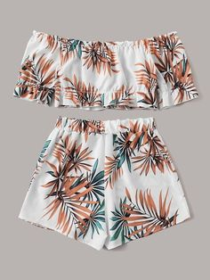 Product name: Tropical Print Off Shoulder Top With Shorts at SHEIN, Category: Two-piece Outfits Cute Comfy Outfits, Cute Girl Outfits, Cute Summer Outfits, Pretty Outfits, Stylish Outfits, Cool Outfits, Teenage Girl Outfits, Girls Fashion Clothes, Summer Fashion Outfits