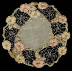 Art neuveau silk embroidered doily