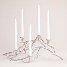 One of my favorite discoveries at WorldMarket.com: Silver Twigs Taper Candle Centerpiece