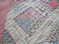 """Antique Vintage Signature Friendship Sampler Quilt From Snyder Texas Beautiful 
