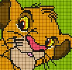 Young Simba From The Lion King (Square) Perler Bead Pattern / Bead Sprite Disney Cross Stitch Patterns, Pony Bead Patterns, Beading Patterns, Kandi Patterns, Graph Paper Drawings, Graph Paper Art, Graph Crochet, Pixel Crochet, C2c Crochet