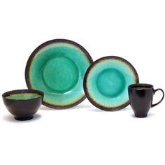 Crackle 16-Piece Dinnerware Set, Green (Walmart)