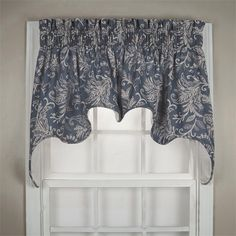Floating Leaves in Blue color Swag Valance Top Treatments
