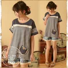 Grace Girl 2014 summer women's small fresh color block stripe short-sleeve T-shirt decoration mori girl