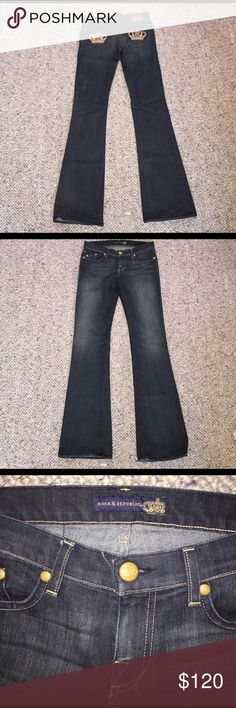Rock & Republic size 28 flared denim These dark blue Rock & Republic jeans have only been worn once and are in excellent condition. Scale 1-10: 10 R&R is known to make really long jeans so if you have long legs or like to wear heels these are the pair for you! Perfect for the crown loving Queen. Rock & Republic Jeans Flare & Wide Leg