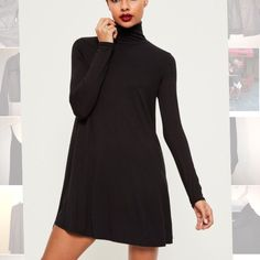 eadc70af70 Missguided Black Turtle-Neck Dress Sukienki Na Dzień