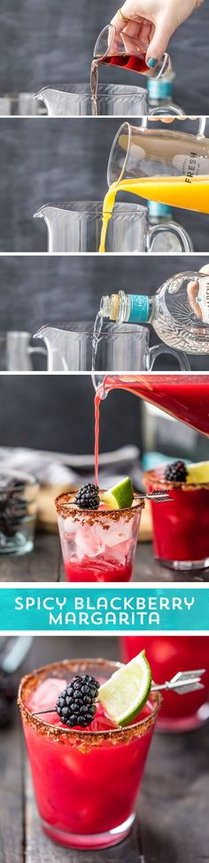 Need a refreshing Margarita? This Spicy Blackberry Margarita from is for you! Packed with fresh blackberries, tequila and spicy Old El Paso™ Green Chiles, then topped with a zesty spiced rim - this quick & easy marg has a little something Party Drinks, Cocktail Drinks, Fun Drinks, Yummy Drinks, Cocktail Recipes, Alcoholic Drinks, Beverages, Yummy Food, Drink Recipes
