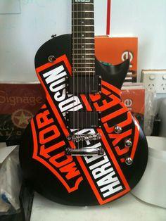 Guitar art Guitar Art, Cool Guitar, Motocross Racer, Sports Gifts, Custom Guitars, Harley Davidson, Instruments, Electric Guitars, Adult Humor