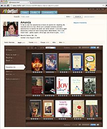 Shelfari.com is a great website for browsing for books.  There are reader reviews, summaries and lots of information on each book.  There are also groups you can join as a sort of online book club.  The site keeps track on your shelf of all the books you've read, want to read, want to/do own and you can even write your own review of the books for future reference.  Great site for avid readers, or even the not-so-avid reader.