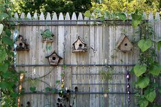 Working on a collection of birdhouses for my stockade fence.  I love this look.