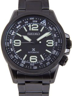 Seiko Prospex Men's Automatic Watch - In Stock, Free Next Day Delivery, Our Price: Buy Online Now Seiko Automatic, Automatic Watches For Men, Stylish Watches, Cool Watches, Black Stainless Steel, Stainless Steel Bracelet, Waterproof Sports Watch, Seiko 5 Sports, Seiko Men
