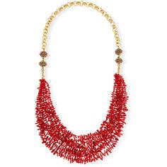 Devon Leigh Long Multi-Strand Coral Necklace ($635) ❤ liked on Polyvore featuring jewelry, necklaces, red, red coral jewelry, 24 karat gold necklace, chain link necklaces, red bead necklace and red necklace