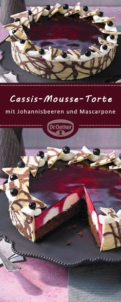 Cassis-Mousse-Torte: Dekorative Torte mit einer Mousse aus schwarzen Johannisbeeren und Mascarpone-Creme-Tupfen cookies and cream cookies christmas cookies easy cookies keto cookies recipes easy easy recipe ideas no bake Beef Pies, Mince Pies, Mascarpone Creme, Cake Recipes, Dessert Recipes, Flaky Pastry, Breakfast Buffet, Mousse Cake, Yummy Cakes