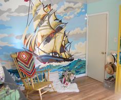kid's room paint by number mural
