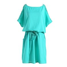 sexy o-neck Lace Back Casual Bat wing Short sleeve pockets mini Shirt Dress Summer women dresses