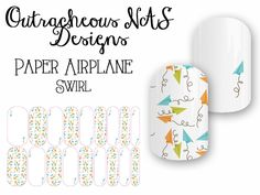 Outracheous custom Jamberry Nail art studio design paper airplanes