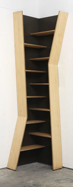 shelf by Modern Vermont. Appleply maple veneer plywood with Monocoat oil finish and zero VOC paint. This is made of two seperate and identical shelves (one fliped upside down) and can be reconfigured separately. a straight side piece for each shelf is removed to join them toegether.