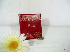 Vintage Red Leatherette Photo Album Spiral Bound by DivineOrders