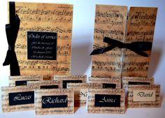 Music wedding invitation music sheet classic vintage di Luxurisse