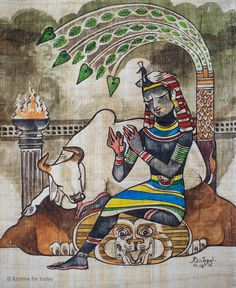 Pharaoh Krishna. #papyrus #watercolour #krishnafortoday