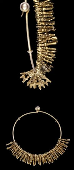 Africa | Lost wax castings in gold of fifty small beads in the form of European-style keys, threaded on a wire ring of European manufacture with a ball and hook clasp and two metal keeps situated either side of the fastening (nsafoa). | Asante people, Ghana | 19th century || {6.13}