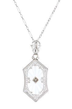 Rock Crystal Art Deco Pendant Necklace