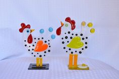 Fused Glass Whimsical Chickens By Saskia