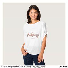 Modern elegant rose gold makeup typography T-Shirt