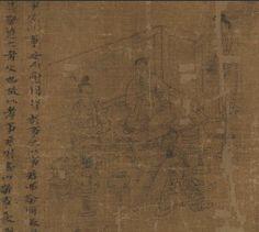 Li Gonglin. Rouleau du Classique de la piété filiale, vers 1085. Encre sur soie pour la peinture, encre sur papier pour les colophons. 21,9x475,6 cm (sans les colophons). New York, MET. Chapitre 5, des nobles.
