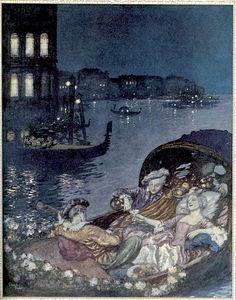 Noël 1912, Edmund Dulac réalise trois aquarelles qui illustrent le poème d'Alfred de Musset, Venise.