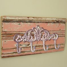 Handmade shabby chic wall-hung four-hook rack on salvaged antique window trim - $47.50