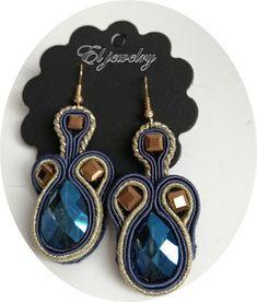 El jewelry: granatowo złote wiszące kolczyki