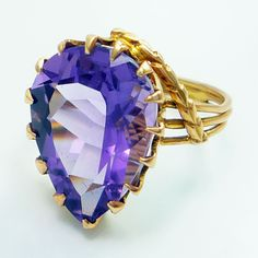 18K Rose Gold Vintage Retro 1940s 7.65ct Amethyst Ring
