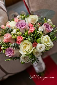 rose bouquet with bouvardia and rosemary