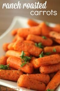 Six Sisters Ranch Roasted Carrots Recipe.  A great veggie side dish!