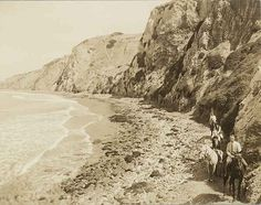 Malaga Cove, horse riders along the beach, Palos Verdes Estates, California. by Palos Verdes Local History, via Flickr
