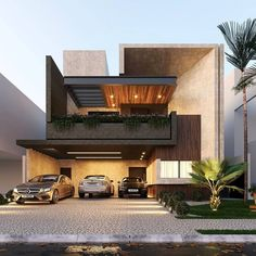 Image may contain: tree, sky, house, plant and outdoor Modern Exterior House Designs, Modern House Facades, Modern Villa Design, Design Exterior, Dream House Exterior, Modern Architecture House, Facade Design, Architecture Design, House Front Design