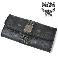 MCM 長財布 ブラック スタッズ 二つ折り レザー スナップボタン ロングウォレット【送料無料】 wal-mcm-023
