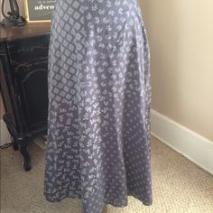 Coldwater Creek Maxi Skirt Cotton maxi skirt with cute print and embellished hem. I have had in my closet forever but barely worn. I could never find the perfect top. Slate blue with pale mint green design. Coldwater Creek Skirts A-Line or Full