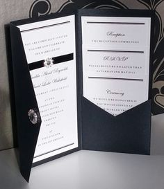 Formal | Black Tie | Diamante | Pocketfold | Wedding Invitation  | eBay