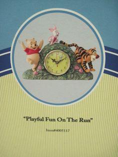 "DISNEY PORCELAIN WINNIE THE POOH & FRIENDS CLOCK ""PLAYFUL FUN ON THE RUN"""