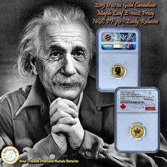 """The ability to portray people in motion requires the highest measure of intuition and talent."" – Albert Einstein  Make your most brilliant decision of the day! Follow your intuition and click the link in our bio to navigate our website - www.bullionexchanges.com . Purchase your 2015 1/10 oz Gold Canadian Maple Leaf E=mc2 Privy NGC PF 70 - Early Releases today with Bullion Exchanges! Bullion Exchanges is the exclusive distributor of these coins within the United States!  #bullex…"