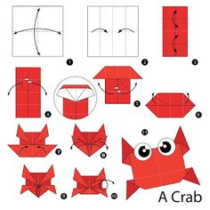 Step by step instructions how to make origami A Crab. Origami Tattoo, Instruções Origami, Origami Butterfly, Paper Crafts Origami, Origami Flowers, Diy Paper, Oragami Christmas, Origami Instructions For Kids, Design Origami